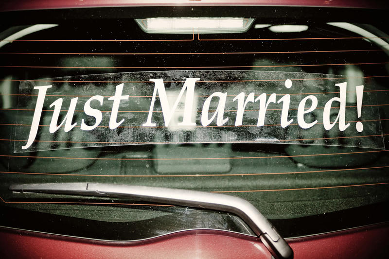 Just Married on Red Car. Just Married decal on red car royalty free stock photos