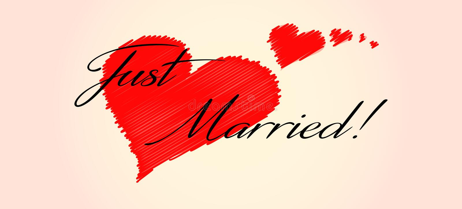 Just married! with red hearts flying. A banner with the write Just Married! and flying red hearts, on a soft pink gradient background royalty free illustration