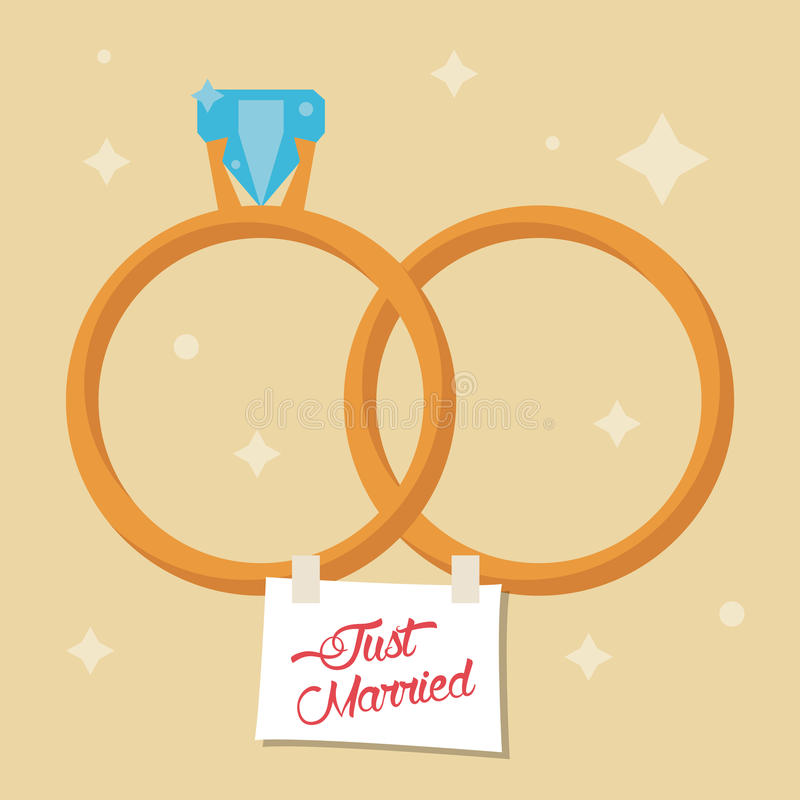 just married rings star background stock illustration