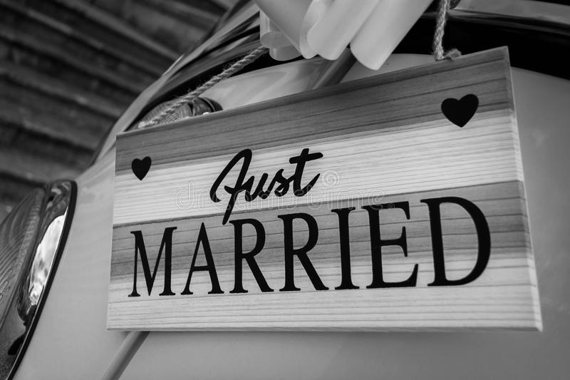 Just married sign on car royalty free stock photo