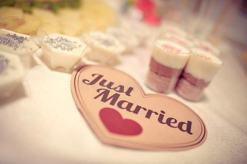 Just Married sign on a Wedding candy table royalty free stock photography