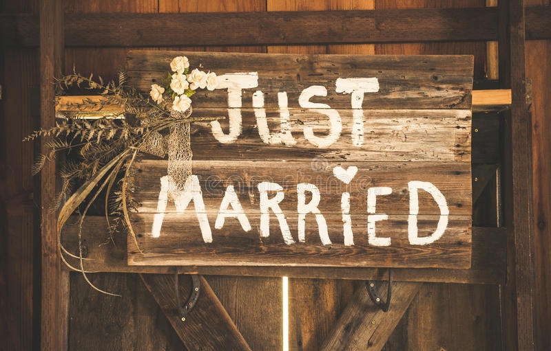 Just Married Sign. A wooden sign saying just married royalty free stock image