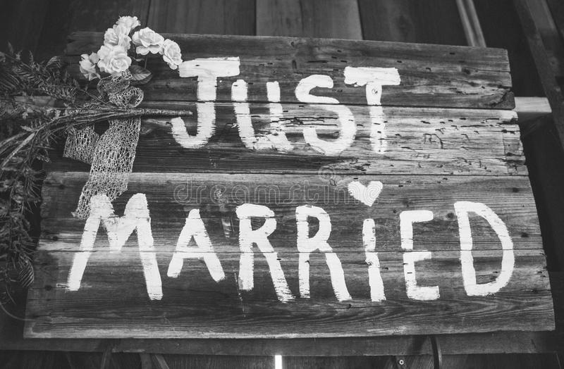 Just Married Sign. A wooden sign saying just married royalty free stock photo