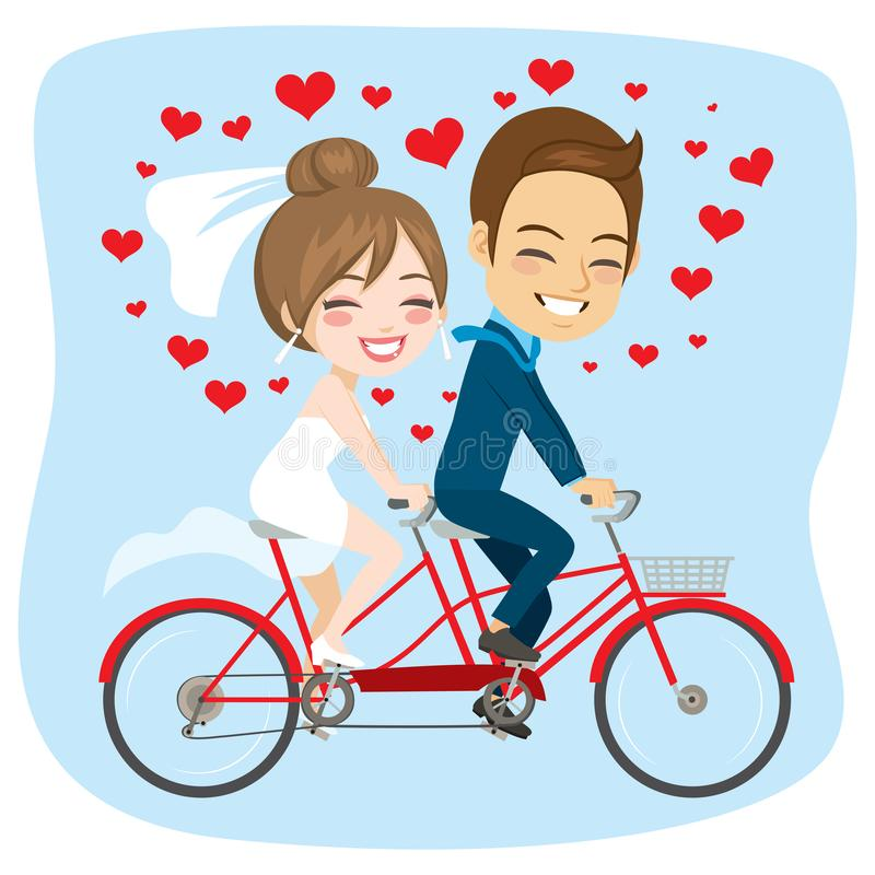 Just Married Tandem Bicycle Couple stock illustration