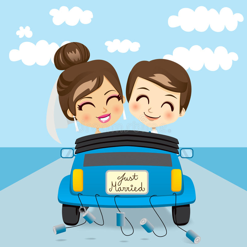 Just Married Trip Stock Vector. Illustration Of Happy