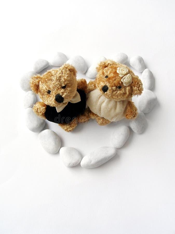 Just Married! - wedding bear couple stock photos