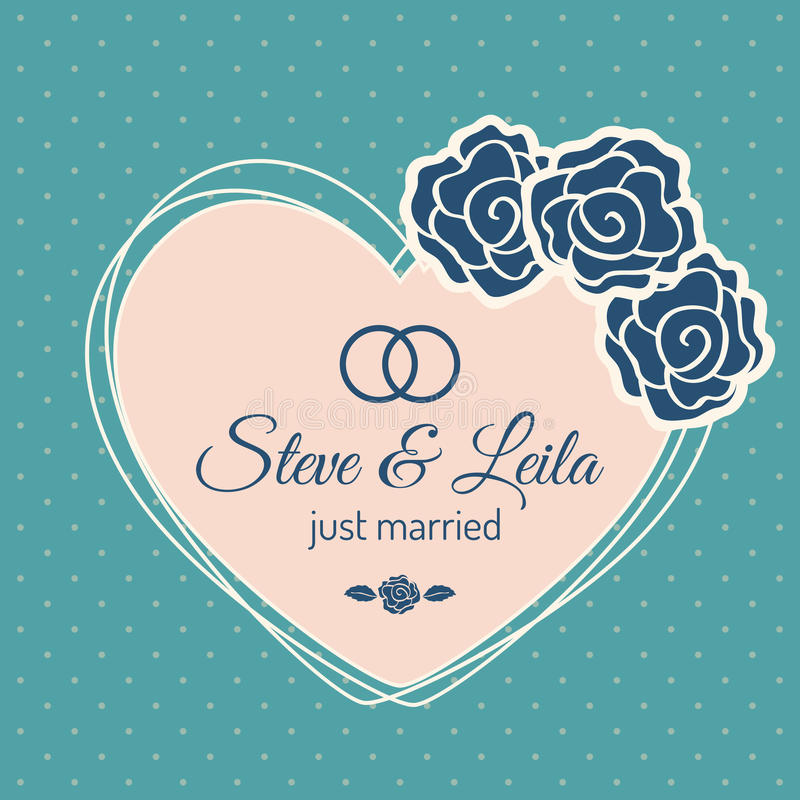 Just Married Wedding Card. With heart. Vector design stock illustration