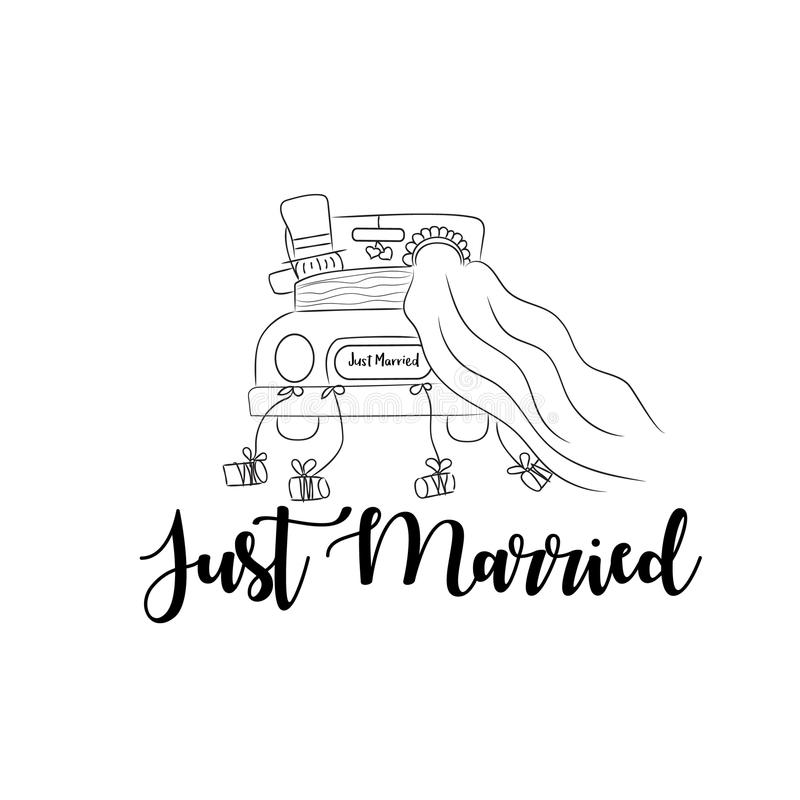 Free Just Married Wedding Couple Illustration Stock Photos - 114805433