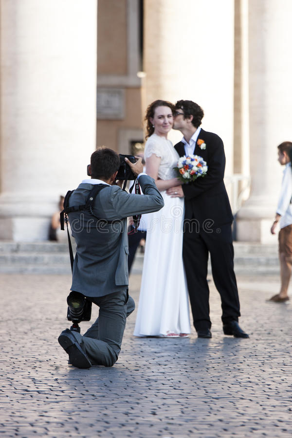Just married - Wedding shooting photographer royalty free stock photos