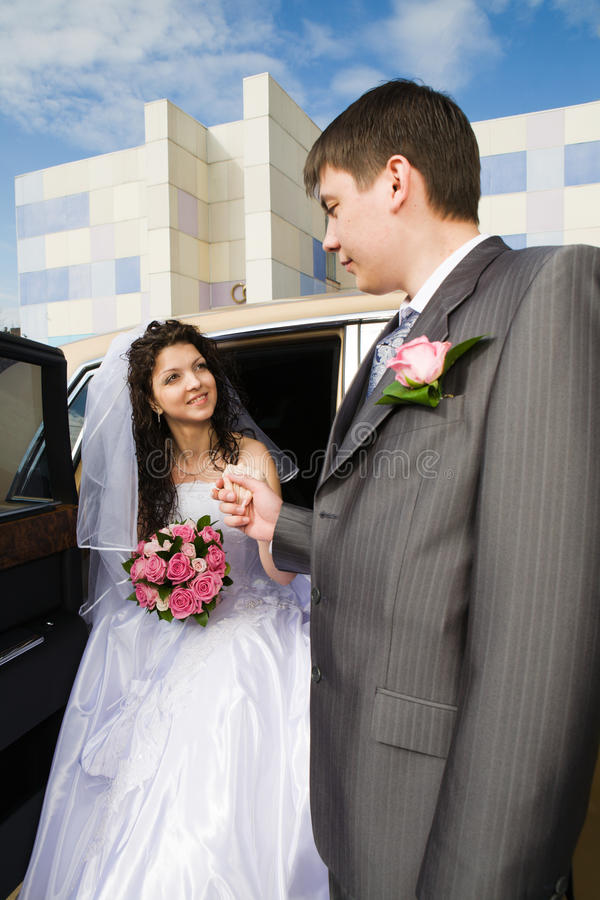 Just married young couple royalty free stock image