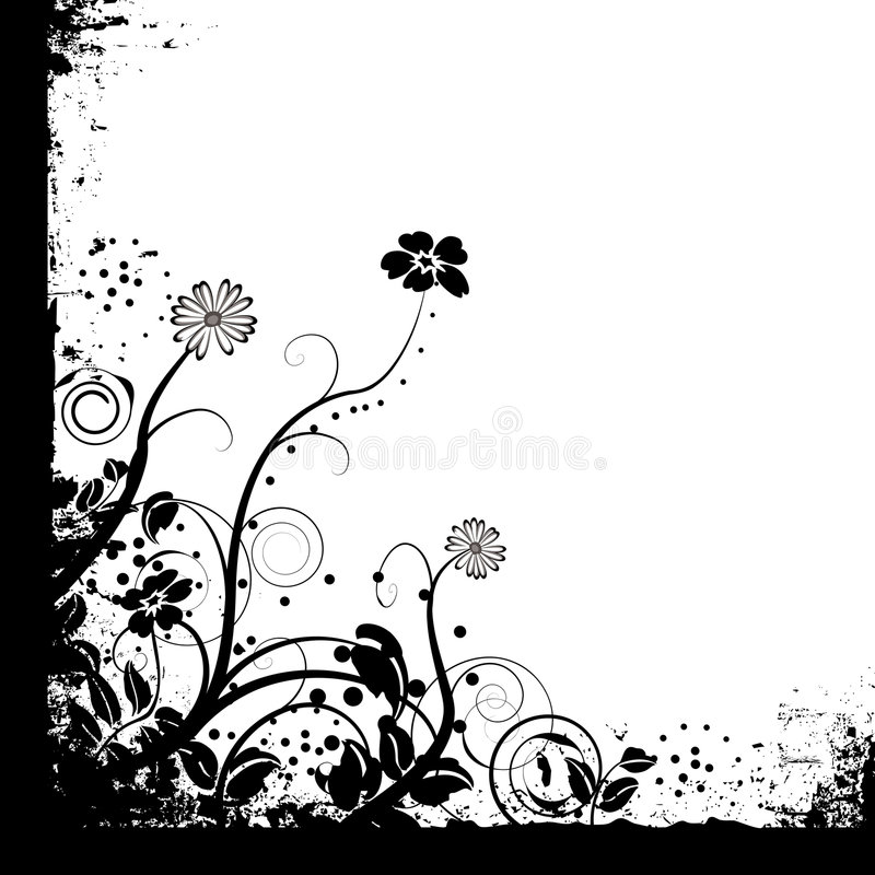 Just mono floral. Floral black and white mono background design with copy space royalty free illustration