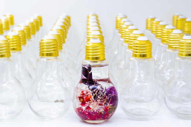 Artificial flower decoration in the bulb. Stand out from the crowd. stock photos
