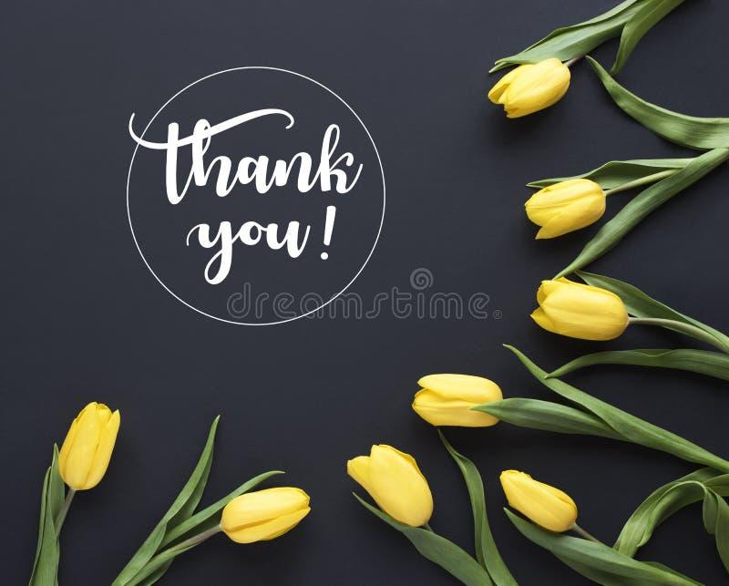 just rained ` Σας ευχαριστήστε! ` γραπτός στο καλλιγραφικό ύφος Πλαίσιο φιαγμένο από κίτρινα λουλούδια τουλιπών στο μαύρο υπόβαθρ διανυσματική απεικόνιση