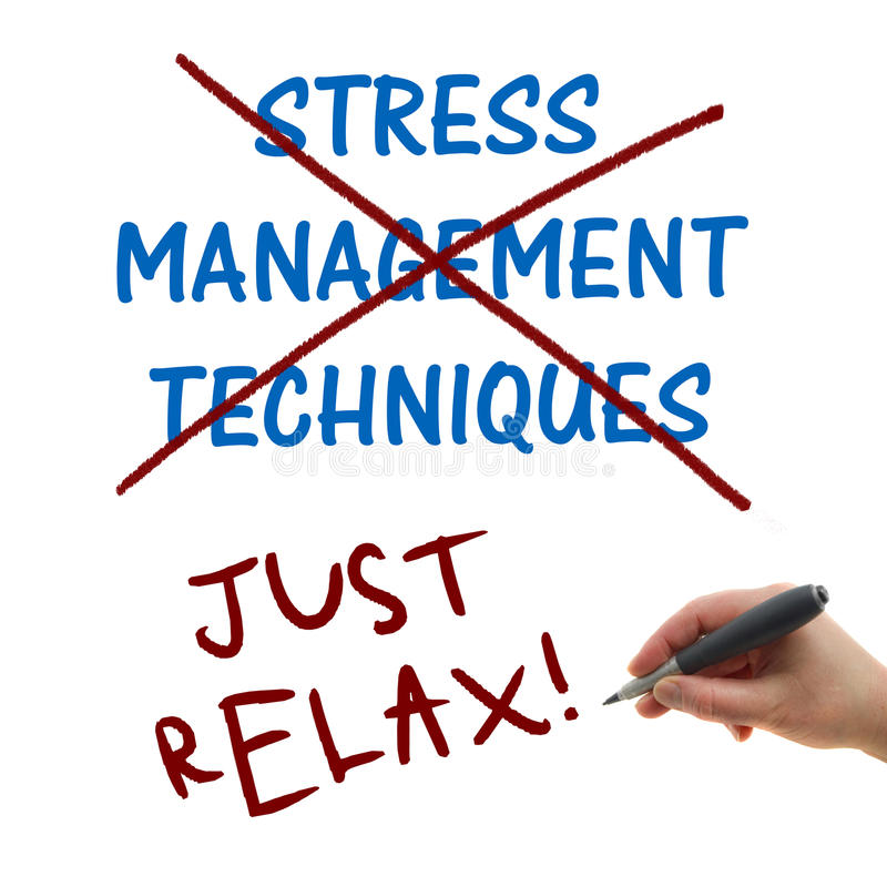 Just Relax. Stress management technique, illustration of the hand writing on the white paper background Just Relax royalty free stock photography