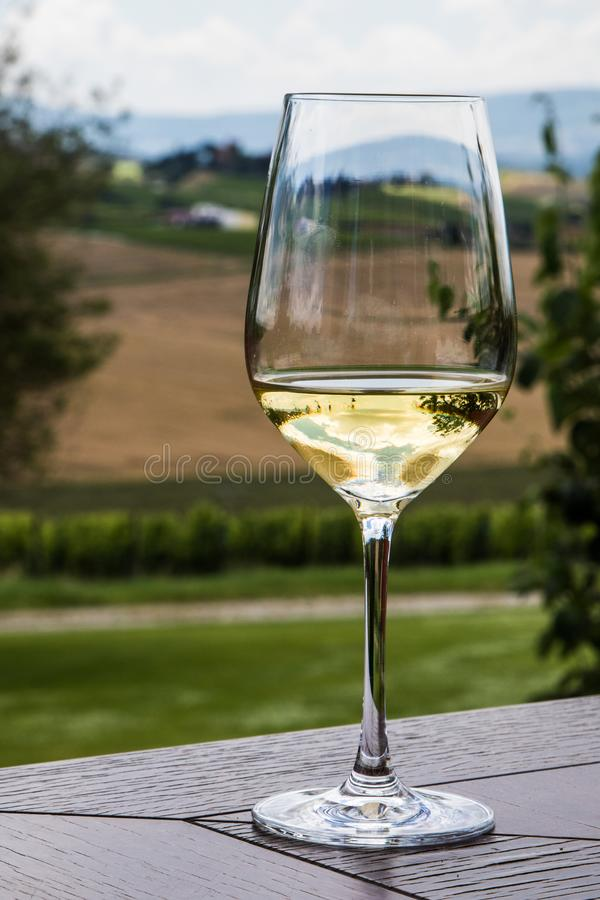 Just a Sip. A glass of wine completes a trip to Tuscany stock image