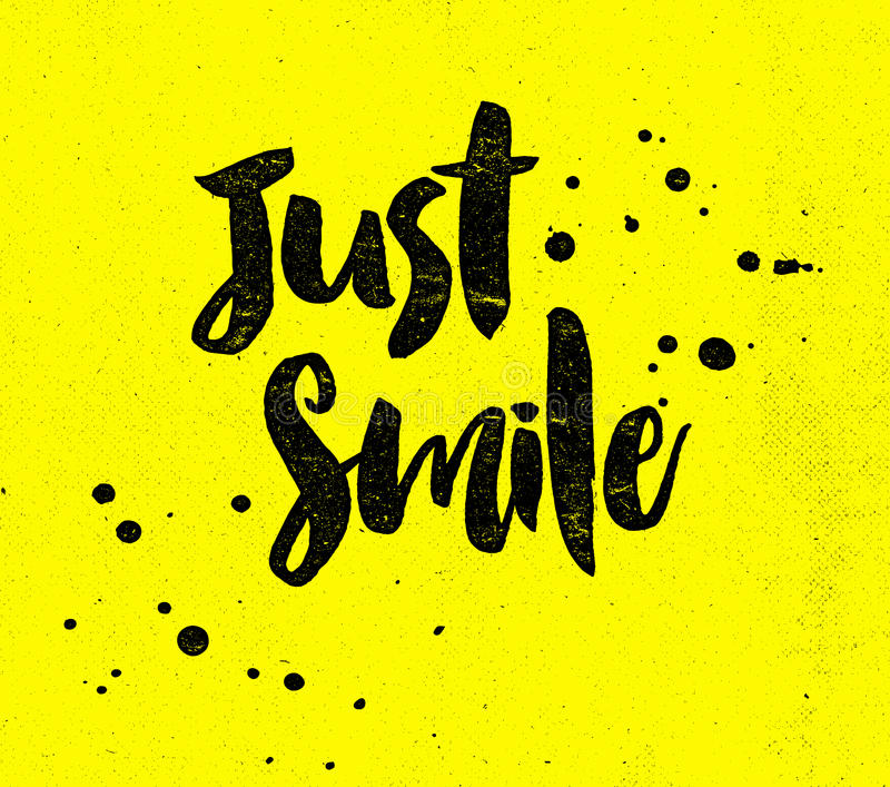 Just Smile. Typographic Design poster with Ink Splotches on Yellow Background stock illustration