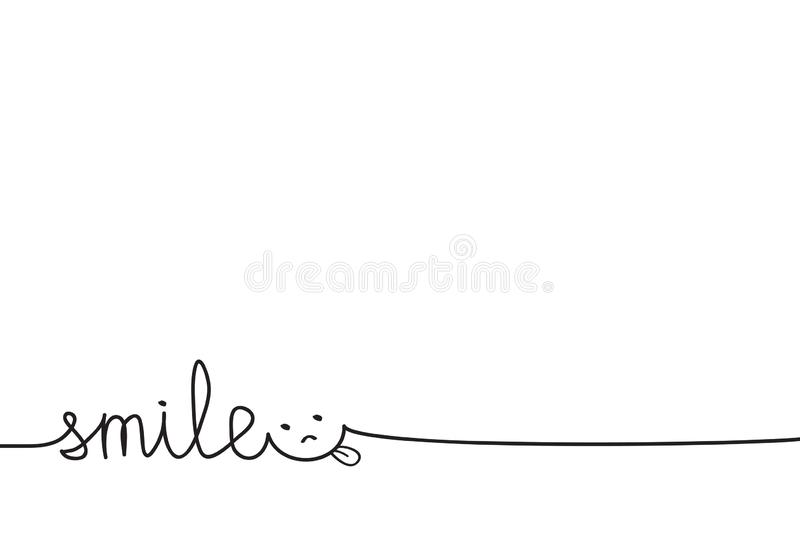 Just Smiling hand drawn word for possitive banner or poster with smile face on white, stock vector illustration royalty free illustration