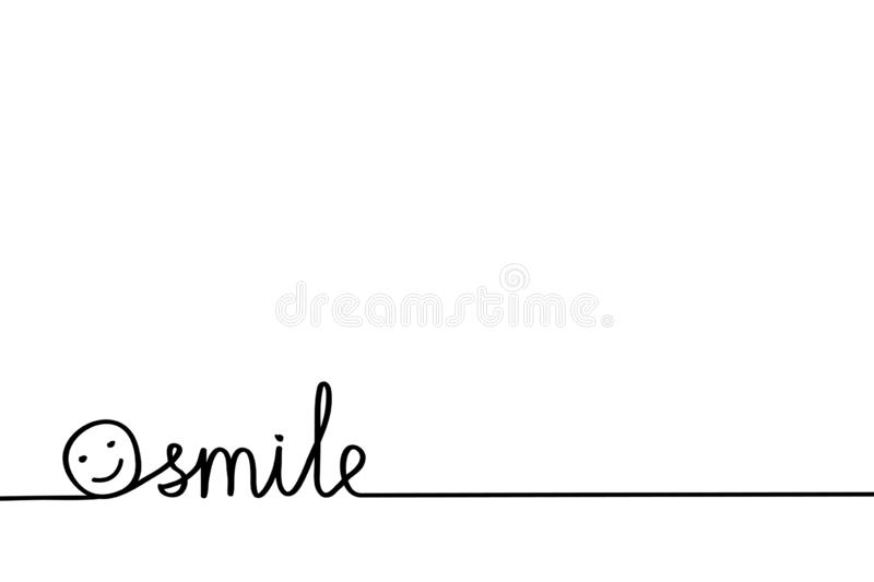 Just Smiling hand drawn word for possitive banner or poster with smile face on white, stock vector illustration vector illustration