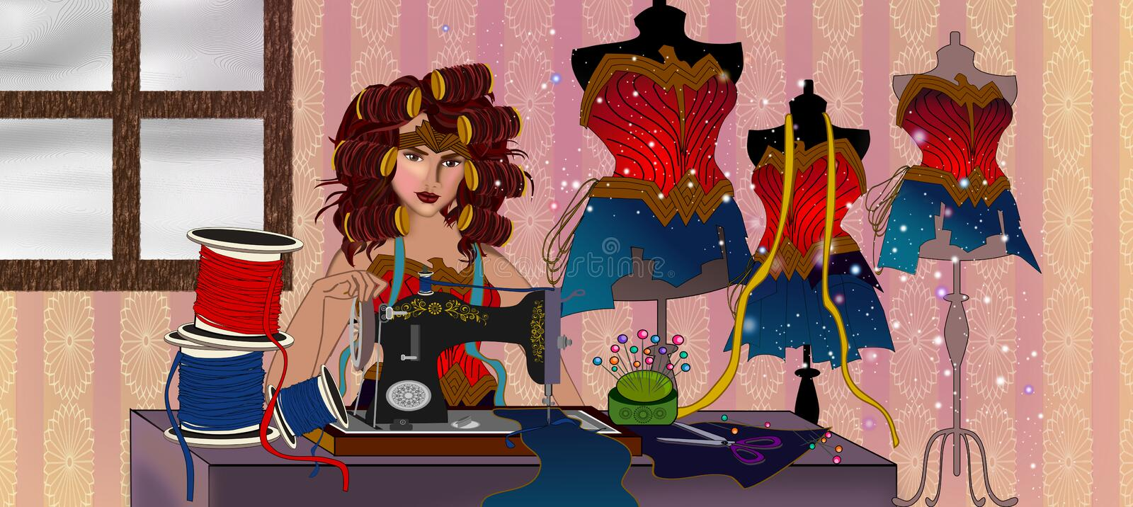 Just Stay home. Even wonder woman should Stay at home and relax illustration concept background royalty free illustration