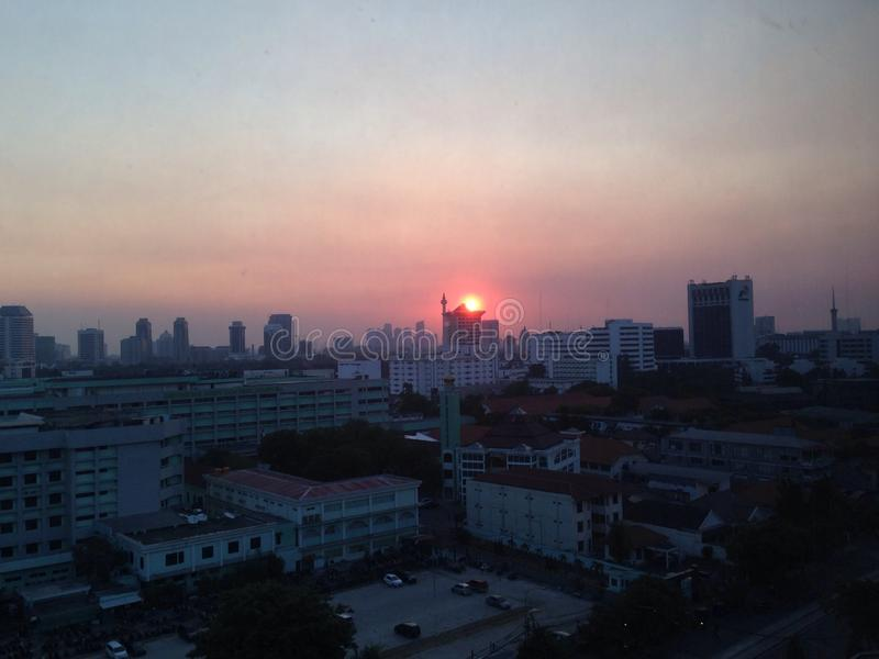 Just sunset... Sunset at Central Jakarta stock photography