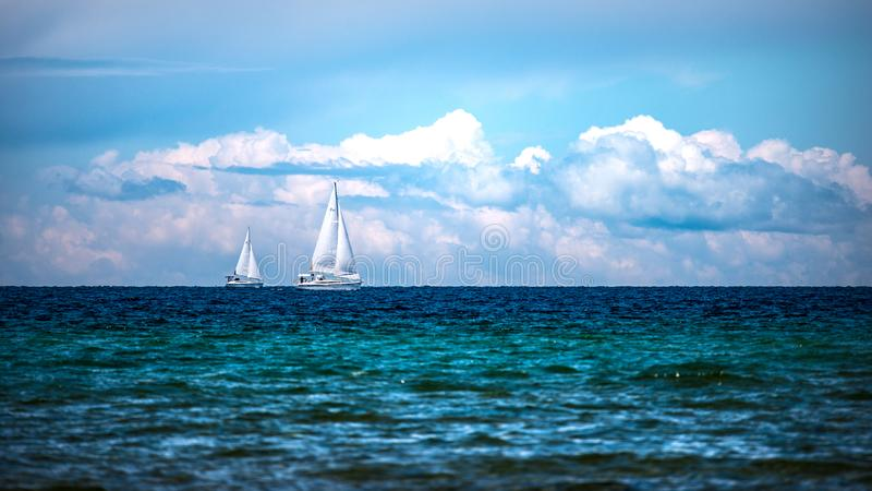 Sailboats On The Bay stock photos