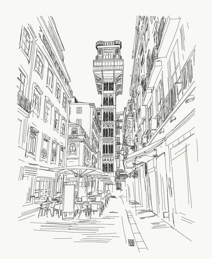 Justa Лиссабон Ascensor santa, Португалия - нарисованная рука Ilustração иллюстрация штока