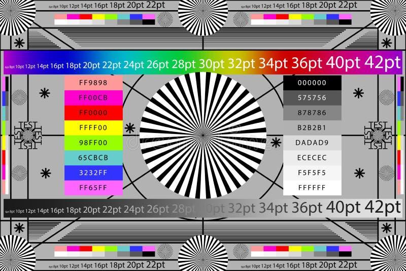 Justage der Kameraobjektiv-Testseitefarbtafel Fernsehschirmhintergrund ENV 10 stock abbildung