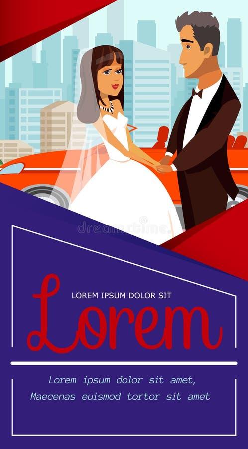 Juste marié, bannière de nouveaux mariés avec le lettrage illustration stock