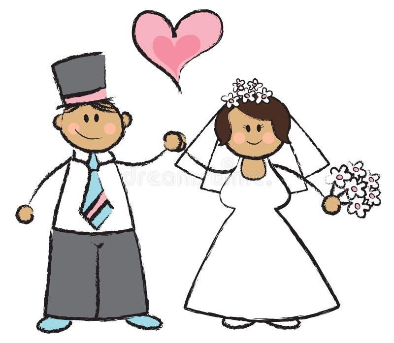Juste MARIÉ ! - couples d'une chevelure foncés illustration stock