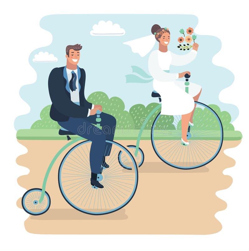 Juste marié sur le bycicle illustration de vecteur