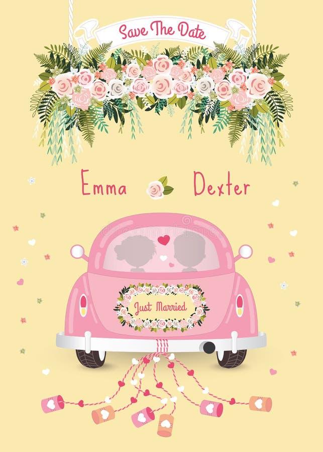 Juste voiture mariée avec des économies la carte d'invitation de mariage de date illustration de vecteur