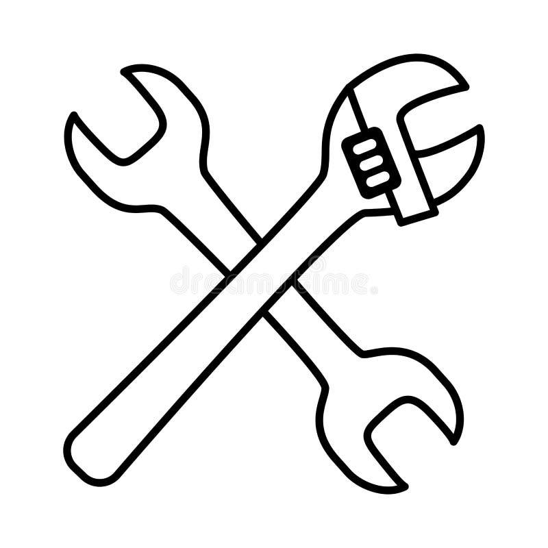 Justerbara hjälpmedel för skiftnyckel vektor illustrationer