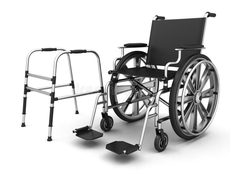 Justerbara hopfällbara fotgängare för åldringen och hjulstolen royaltyfri illustrationer