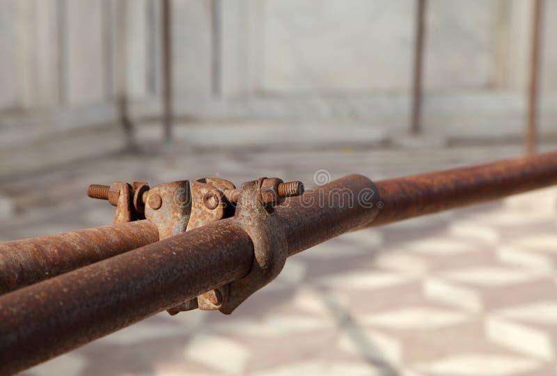 Justerbara stålar för ställning för att reparera i det TaJ Mahal komplexet arkivfoton