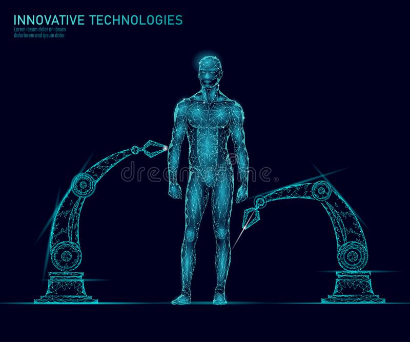 Justeringsmänniskokroppanatomi Teknologi för stålman för innovation för DNAteknikvetenskap Vård- forskningkloning för genom stock illustrationer