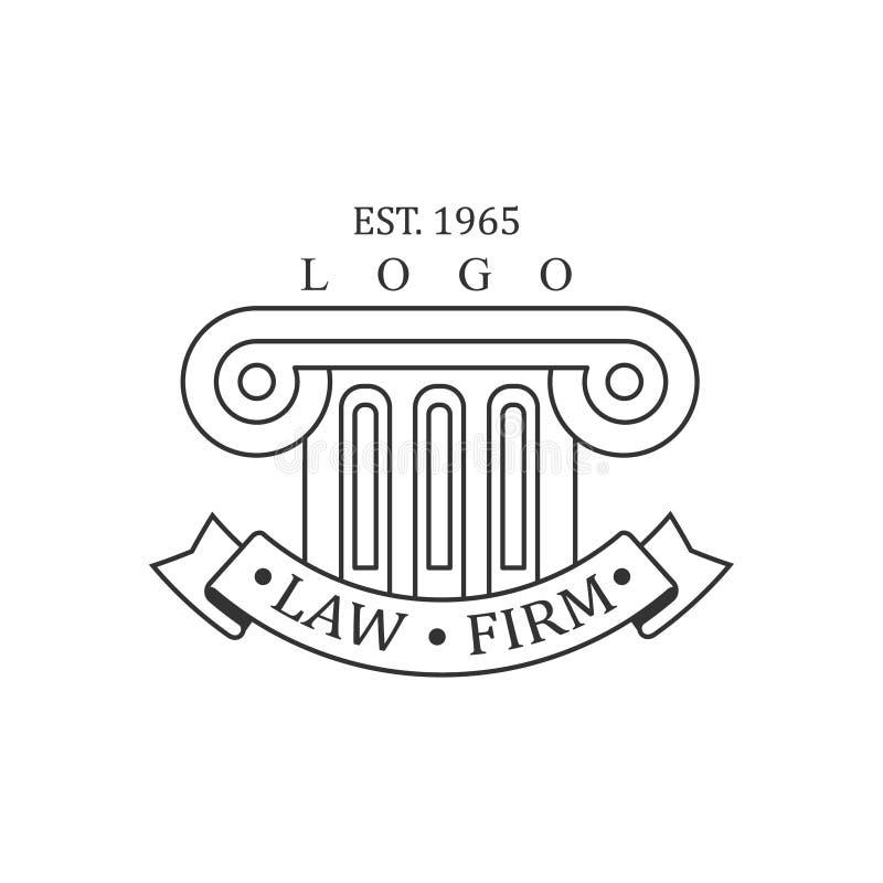 Justiça branca Symbol Silhouette de Office Black And Logo Template With Ionic Pillar da empresa de advocacia e do advogado ilustração do vetor