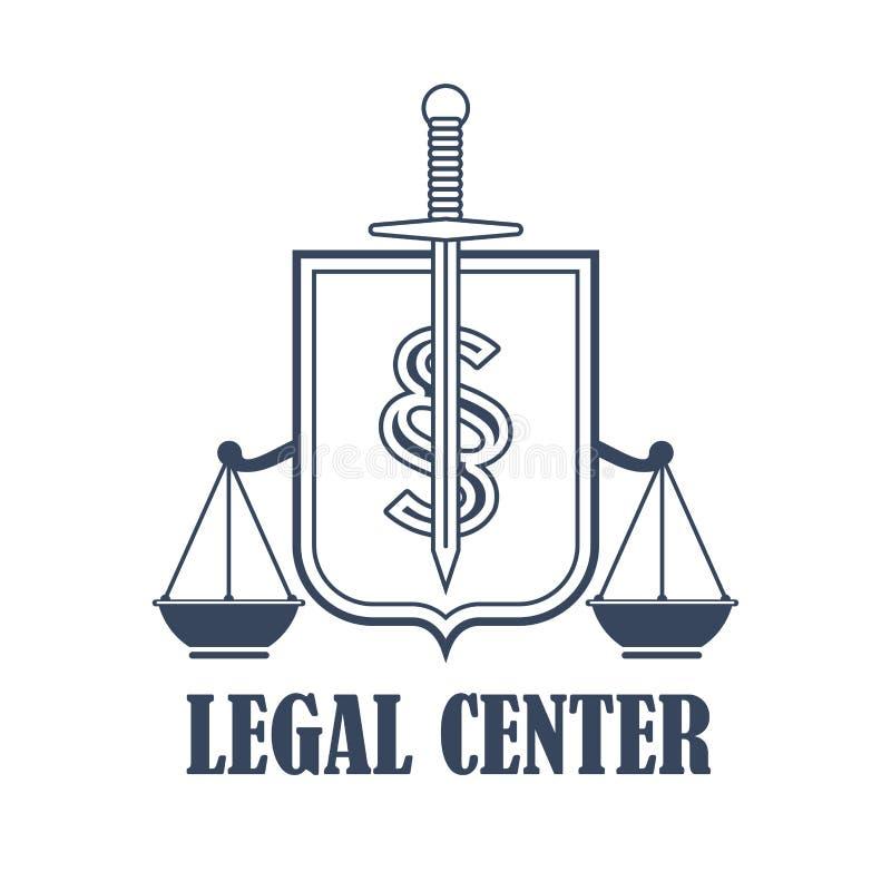 Justiça center legal escala o ícone heráldico do vetor ilustração stock