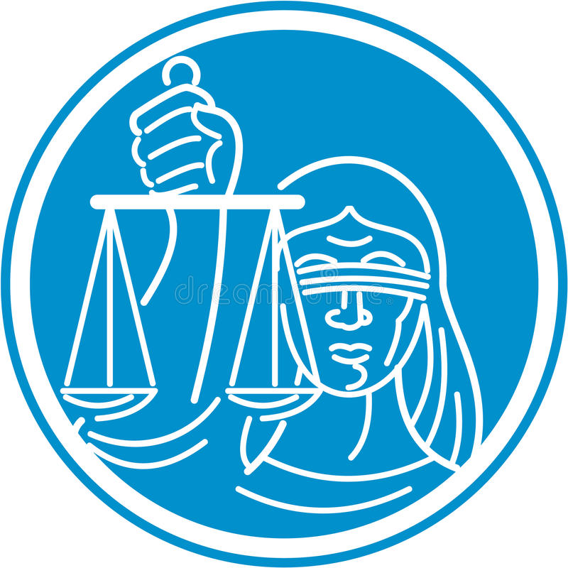 Justiça Circle da senhora Blindfolded Hold Scales ilustração do vetor