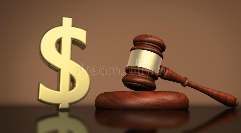Justiça Concept do símbolo da lei e do dólar ilustração do vetor