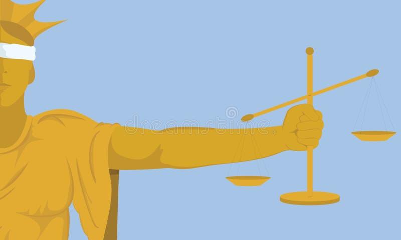 Justiça da senhora que gerencie um olho cego nenhuma justiça na ilustração do vetor do mundo ilustração stock