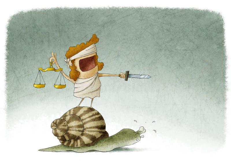 Justiça da senhora sobre um caracol ilustração royalty free