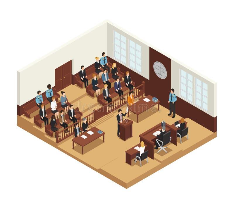 Justiça Isometric Composition Poster da lei ilustração do vetor