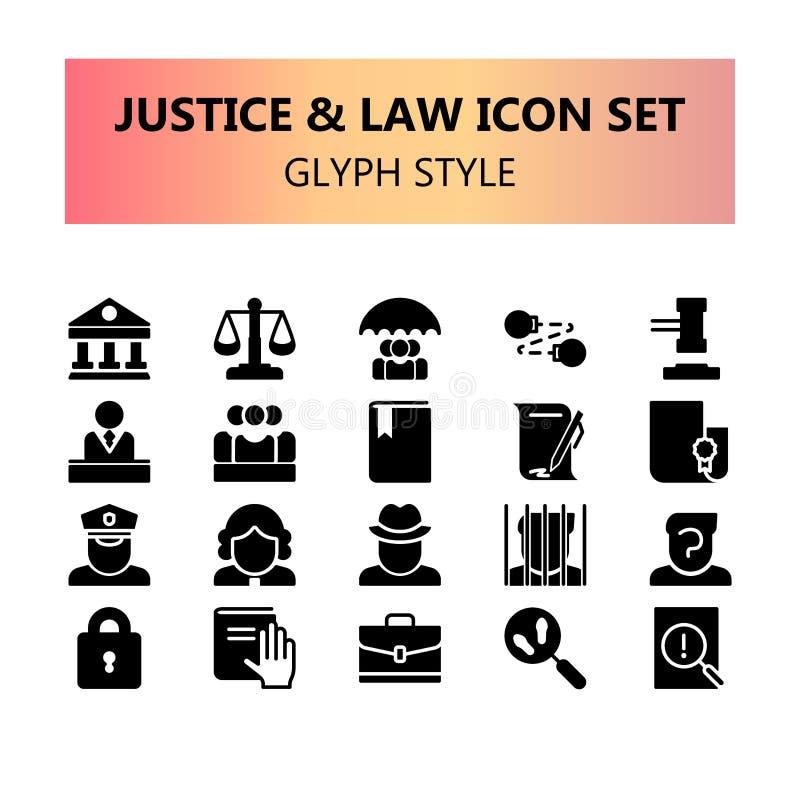 Justiça, lei e grupo perfeito dos ícones do pixel legal ilustração stock