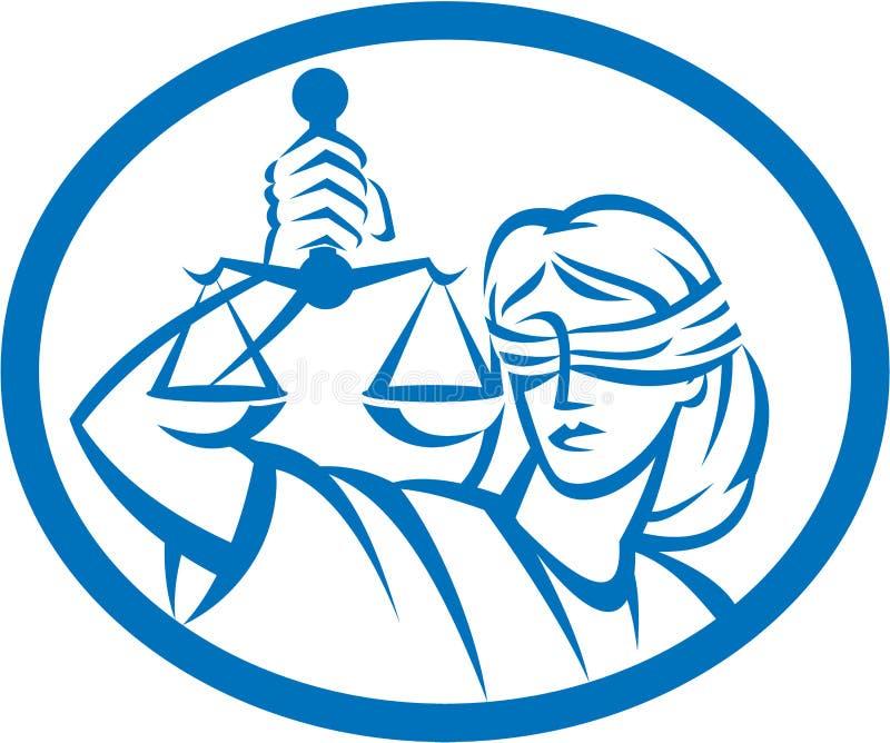 Justiça Oval da senhora Blindfolded Hold Scales ilustração do vetor