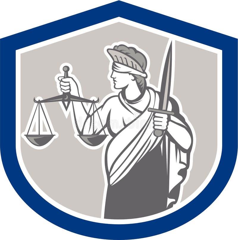 Justiça Sword Shield da senhora Blindfolded Holding Scales ilustração royalty free