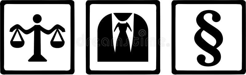 Justiça Symbols do advogado ilustração do vetor