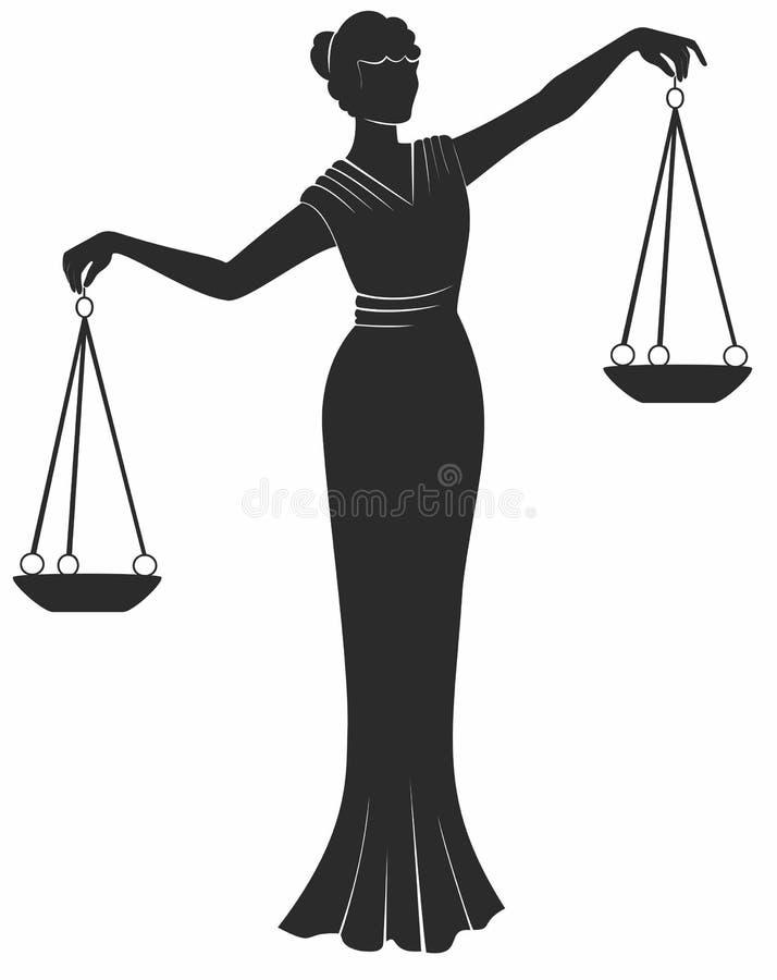 justic天秤座的夫人 平等平衡权利公平的审判 向量例证