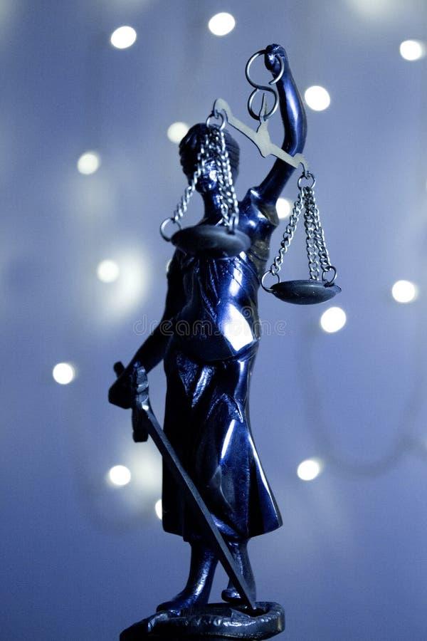 Justic雕象  夫人正义或Iustitia Justitia Rom 免版税库存照片