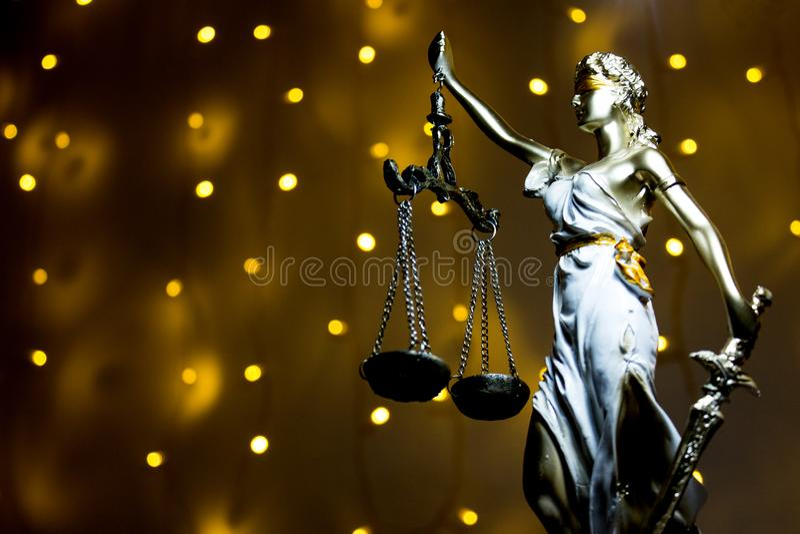 Justic雕象  夫人正义或Iustitia Justitia Rom 免版税库存图片