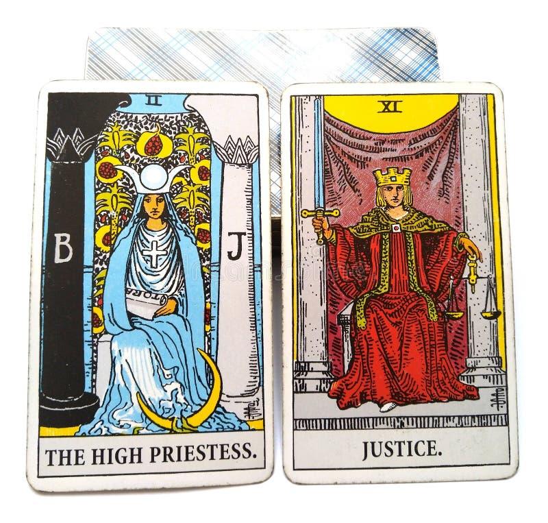 Justice élevée de prêtresse de carte de naissance de tarot illustration libre de droits